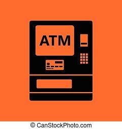 ATM icon. Orange background with black. Vector illustration.