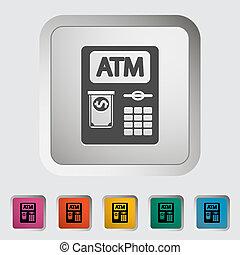 ATM icon. - ATM. Single icon. Vector illustration.