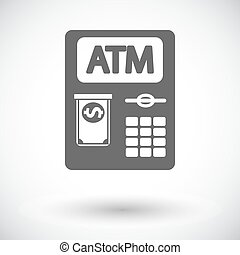 ATM icon - ATM. Single flat icon on white background. Vector...