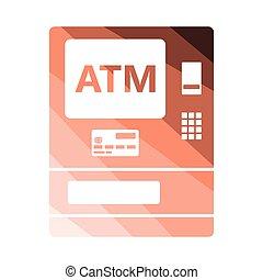 ATM icon. Flat color design. Vector illustration.