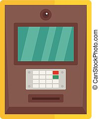 Atm icon, flat style - Atm icon. Flat illustration of atm...
