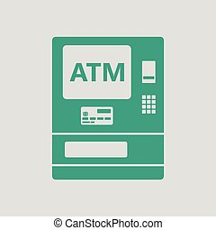 ATM icon. Gray background with green. Vector illustration.