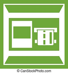 ATM icon green - ATM icon white isolated on green...