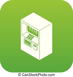 Atm icon green vector isolated on white background