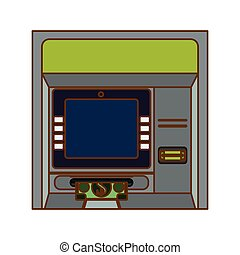 atm icon image - atm icon over white background. colorful...