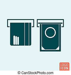 ATM icon isolated. Credit card and money cash symbol....