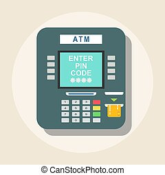 ATM icon - payment terminal. Stock flat vector illustration