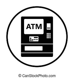 ATM icon. Thin circle design. Vector illustration.