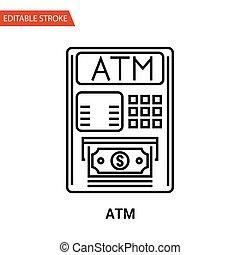 ATM Icon. Thin Line Vector Illustration - Adjust stroke...