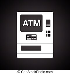 ATM icon. Black background with white. Vector illustration.