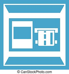 ATM icon white isolated on blue background vector...