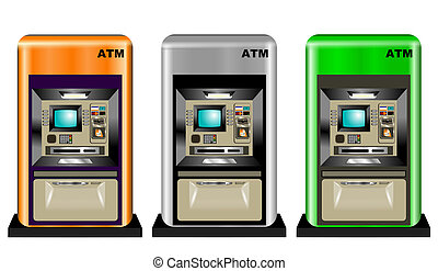 ATM ILLUSTRATION - Automatic teller machines in three...