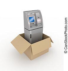 ATM in a carton box.