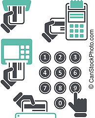 ATM keypad and POS-Terminal - simple icons of hand with ...