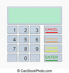 ATM keypad isolated on white