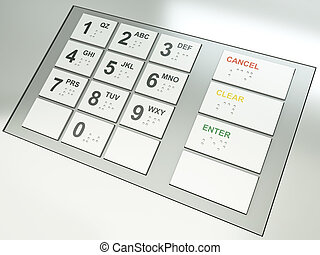 ATM keys - ATM keypad. 3D render.