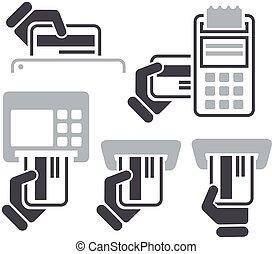 atm, kredyt, c, ręka, pos-terminal