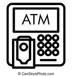 ATM line icon. Bank vector illustration isolated on white. Cash outline style design, designed for web and app. Eps 10.