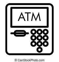 ATM line icon. Payment vector illustration isolated on white. Bank outline style design, designed for web and app. Eps 10.