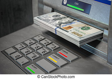 ATM machine and dollars. Withdrawing dollar banknotes.