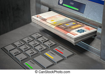 ATM machine and euro. Withdrawing 50 euro banknotes. Banking concept.