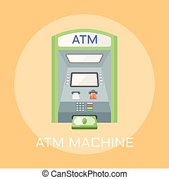ATM machine flat design vector illustration - ATM machine...