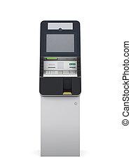 ATM machine front view. 3d.