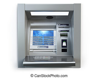 ATM machine isolated on white. Automated teller bank cash machine.