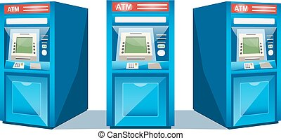 ATM machine isolated on white background vector illustration