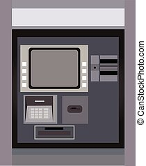 ATM machine money withdraw vector illustration.