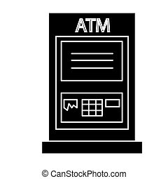 atm machine - payment icon, vector illustration, black sign...