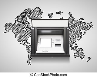atm machine with blank display and world map