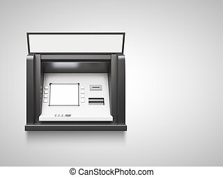 atm machine with blank display in wall