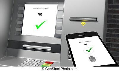 atm, mostrando, verificado, identidade, conectado, para, um, telefone móvel