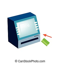 ATM or Automated Teller Machine on White Background -...