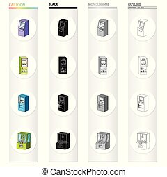 ATM, payment online, terminal for air tickets, slot machine. Different types of terminal set collection icons in cartoon black monochrome outline style vector isometric symbol stock illustration web.