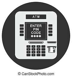ATM payment vector illustration. ATM machine with credit card.
