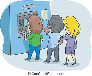 ATM Queue - Illustration of People Queuing in Front of an...