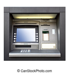 ATM - Automated teller machine close up isolated over white...