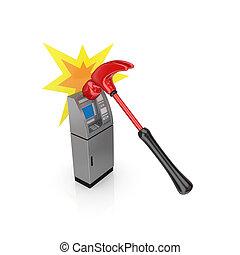 ATM theft concept.