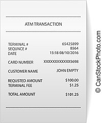 atm transaction printed paper receipt bill