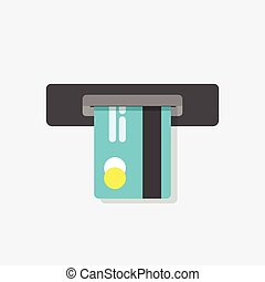 ATM vector illustration, cash machine inserting credit card isolated