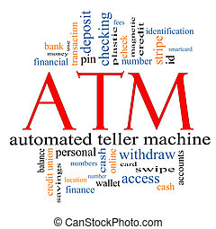 ATM Word Cloud Concept with great terms such as automated,...