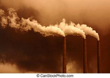 atmosfär, global, pollution
