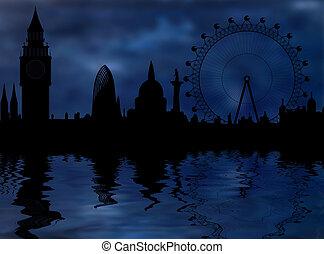 atmosféra, -, městská silueta, londýn, večer, temný
