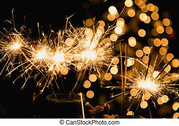 atmosférico, natal, fundo, com, fogos artifício