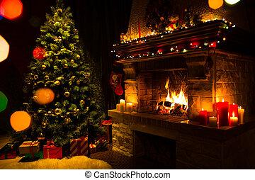 atmosférico, presentes, árbol, Chimenea, navidad, tarjeta