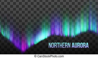 atmosfeer, noordelijk licht, dageraad, realistisch, vector