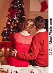 atmosfeer, warme, magisch, kerstmis