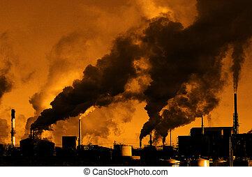 atmosfera, fábrica, ar, meio ambiente, fumaça, qualidade, bombear, poluição